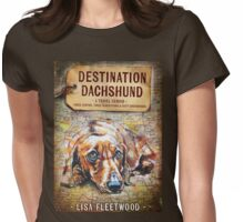 Destination Dachshund Book Cover Womens Fitted T-Shirt
