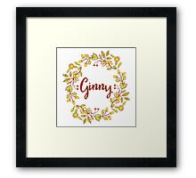 Ginny lovely name and floral bouquet wreath Framed Print