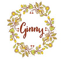 Ginny lovely name and floral bouquet wreath Photographic Print