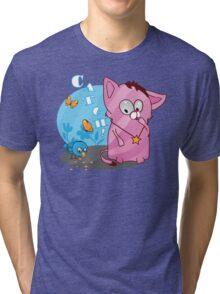 Cute funny kitten with bird Tri-blend T-Shirt