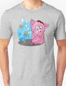 Cute funny kitten with bird Unisex T-Shirt