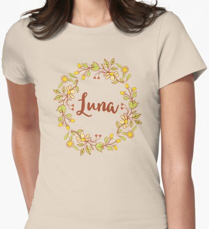 Luna lovely name and floral bouquet wreath Womens Fitted T-Shirt