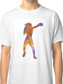 Woman boxer boxing kickboxing silhouette isolated 03 Classic T-Shirt