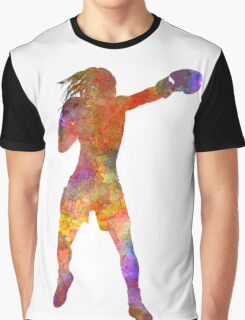 Woman boxer boxing kickboxing silhouette isolated 03 Graphic T-Shirt