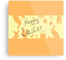 Easter Bunny with a basket on the background Metal Print
