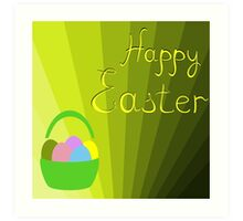 holiday Easter basket with eggs on the background Art Print