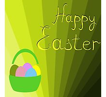 holiday Easter basket with eggs on the background Photographic Print