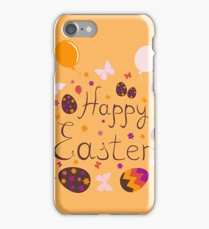 bright colorful Easter greeting card,vector illustration iPhone Case/Skin