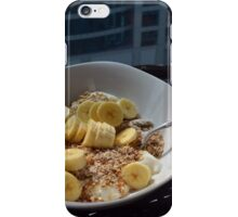 A bowl of cereals with yogurt and bananas. iPhone Case/Skin