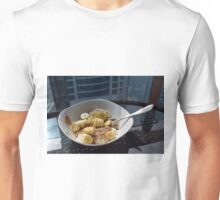 A bowl of cereals with yogurt and bananas. Unisex T-Shirt