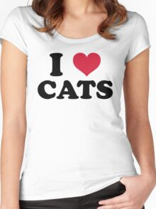 I Love Cats Quote Women's Fitted Scoop T-Shirt