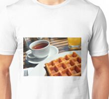 Breakfast or desert with waffle, a cup of tea and orange juice. Unisex T-Shirt