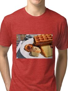 Plate with pastry sweets: cakes, waffle. Tri-blend T-Shirt