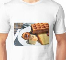 Plate with pastry sweets: cakes, waffle. Unisex T-Shirt