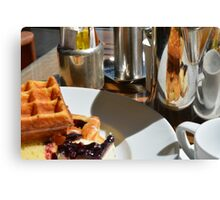 Plate with pastry sweets: cakes, waffle. Canvas Print