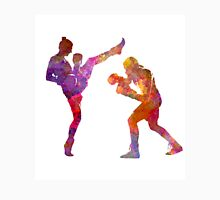 Woman boxwe boxing man kickboxing silhouette isolated 01 Unisex T-Shirt