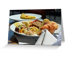 Healthy breakfast with omelette, vegetables and croissant. Greeting Card