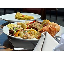Healthy breakfast with omelette, vegetables and croissant. Photographic Print