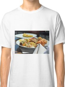 Healthy breakfast with omelette, vegetables and croissant. Classic T-Shirt