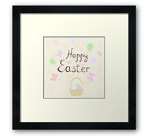 holiday Easter basket with balloons and butterflies,vector illustration Framed Print