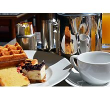 Breakfast or desert with waffle, cakes, a cup of tea and orange juice. Photographic Print