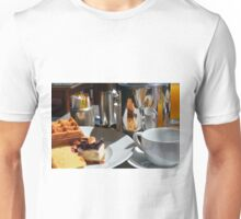 Breakfast or desert with waffle, cakes, a cup of tea and orange juice. Unisex T-Shirt