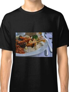 Lunch on the table with pasta, beans, vegetables. Classic T-Shirt