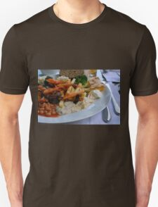 Lunch on the table with pasta, beans, vegetables. Unisex T-Shirt