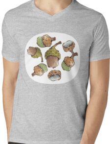Watercolor Acorns Mens V-Neck T-Shirt