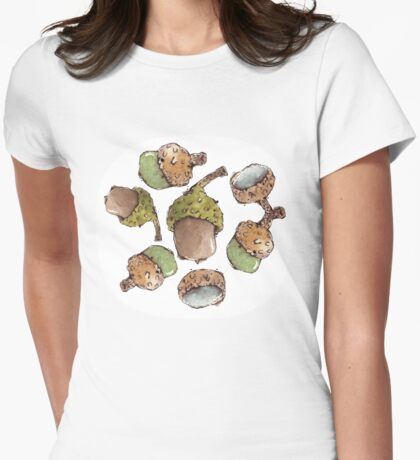 Watercolor Acorns Womens Fitted T-Shirt