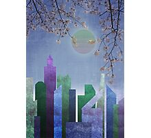 Spring Night Sakura Cherry Blossom Geometric City Landscape Photographic Print