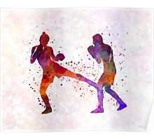 woman boxer boxing man kickboxing silhouette isolated 02 Poster