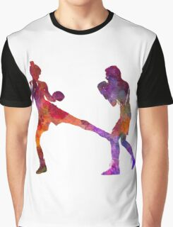 woman boxer boxing man kickboxing silhouette isolated 02 Graphic T-Shirt