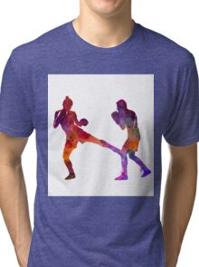 woman boxer boxing man kickboxing silhouette isolated 02 Tri-blend T-Shirt