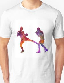 woman boxer boxing man kickboxing silhouette isolated 02 T-Shirt
