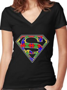 Autism Awareness Super Hero Shirt Women's Fitted V-Neck T-Shirt