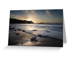 Sunset at Rhossili bay on the Gower peninsular Greeting Card