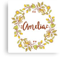 Amelia lovely name and floral bouquet wreath Canvas Print