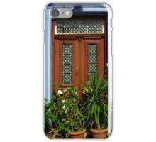 Door with plants in Lefkara Village, Cyprus iPhone Case/Skin