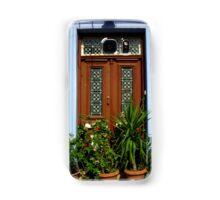 Door with plants in Lefkara Village, Cyprus Samsung Galaxy Case/Skin