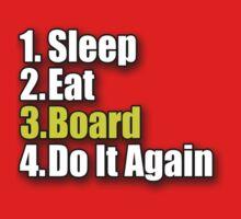 Eat Sleep Board T-Shirt Sticker - Skateboard Snowboard Surfboard One Piece - Long Sleeve