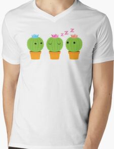three cactus cacti with one in the middle  Mens V-Neck T-Shirt