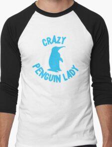 Crazy Penguin Lady (new circle) Men's Baseball ¾ T-Shirt