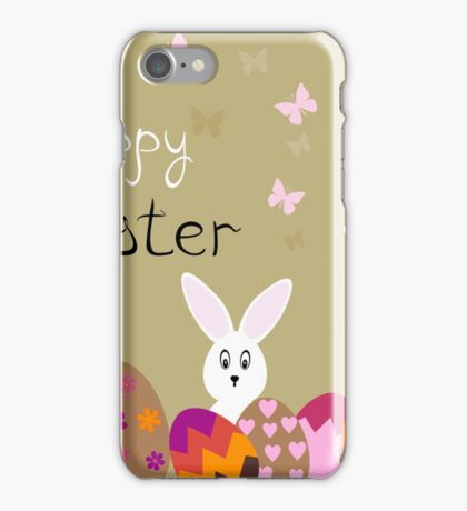 happy Easter hares on the background,vector illustration iPhone Case/Skin