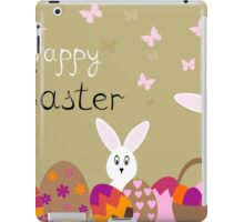happy Easter hares on the background,vector illustration iPad Case/Skin