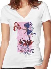 Fairy little girl silhouette with flowers Women's Fitted V-Neck T-Shirt