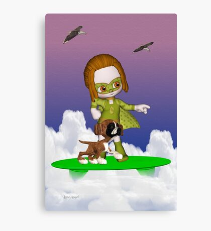 Up Up and Away .. the green avenger Canvas Print