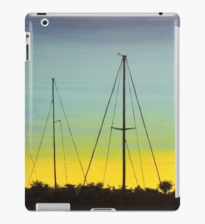 Spacious skies with docked sail boats iPad Case/Skin