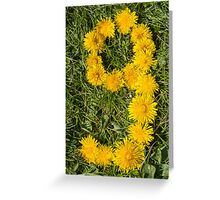 number nine designed with dandelion on the lawn Greeting Card