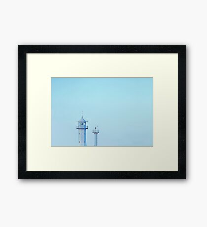 Abstract lighthouse at the sunset  Framed Print